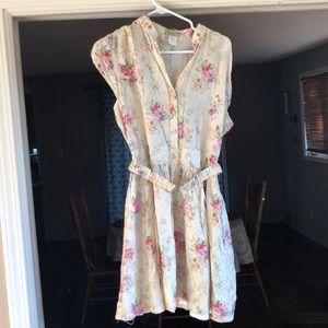 Moon Collection Floral Short Dress w/Belt LARGE